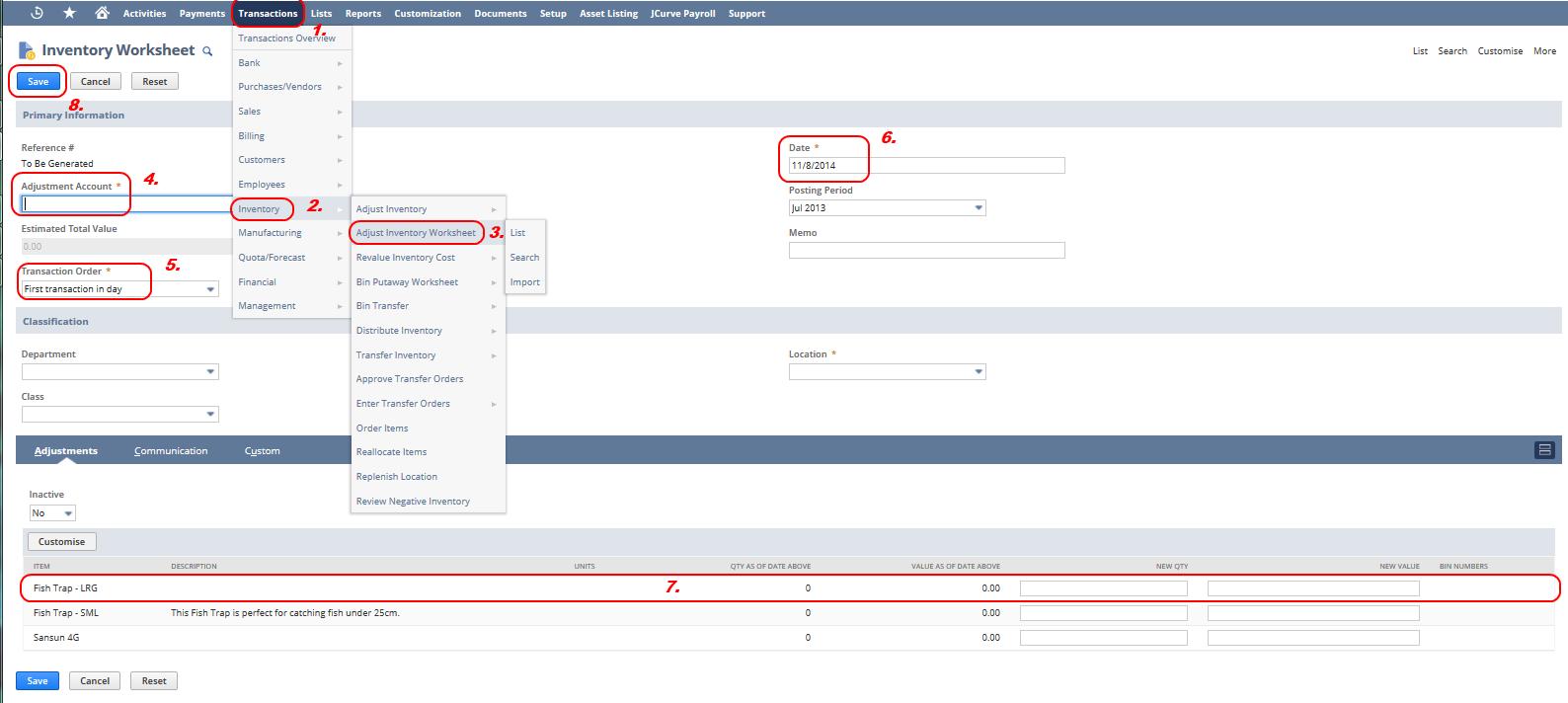 inventory worksheet opening balances jcurve solutions